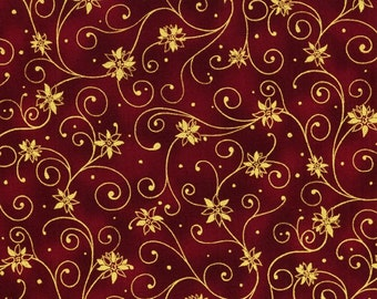 RJR Holiday Accents Burgundy Gold Swirl Poinsettia Dot Christmas Fabric BTY 0782