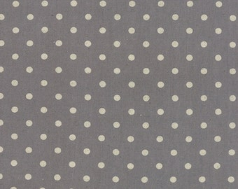 CANVAS Linen Cotton Blend MOCHI Dot Graphite by Momo of Moda Fabric BTHY