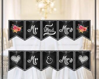 2 Printable Banner Mr Mrs - Chalk Board ChalkBoard for wedding engagement Photo booth props Vintage Wedding Sign INSTANT DOWNLOAD