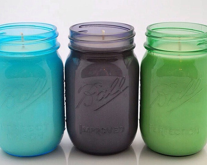 Blue, Green, or Purple Mason Jar Soy Candle - Custom Scent