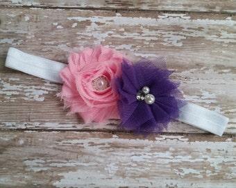 Pink and Purple Headband.. Newborn Headband.. Infant Headband.. Shabby Flower Headband. Photography Prop. baby girl