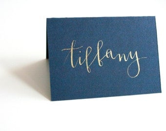 Hand-drawn Calligraphy Place Cards - folded