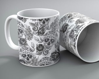Set of 2 - Day of the Dead, Sugar Skull Mugs - Customizable, personalized, or add a Monogram at NO Charge!