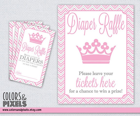 Diaper Raffle Tickets and Table Sign, Baby Shower Printable Diaper ...