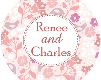 Pink and Grey Personalized Wedding Favor Stickers