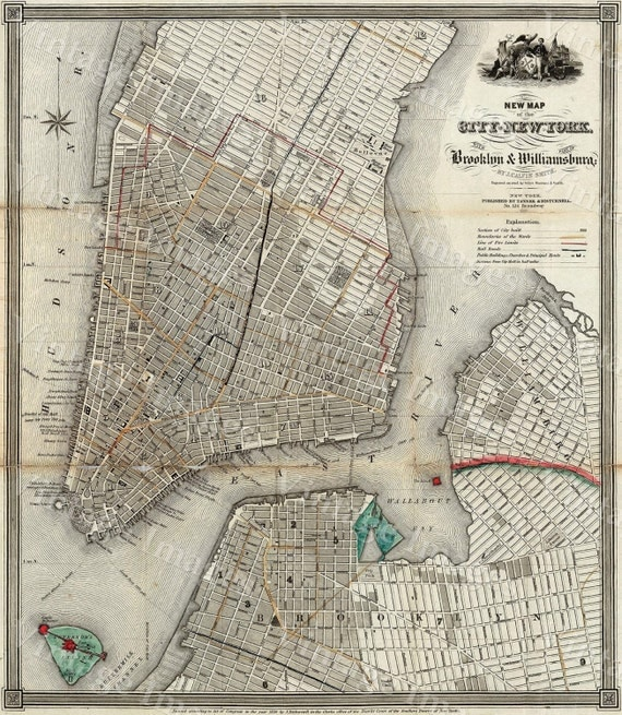 1840 Old Map Of New York City Vintage Manhattan Map Brooklyn Map Historic Map Old Restoration Hardware Style NYC Manhattan Wall Map Decor