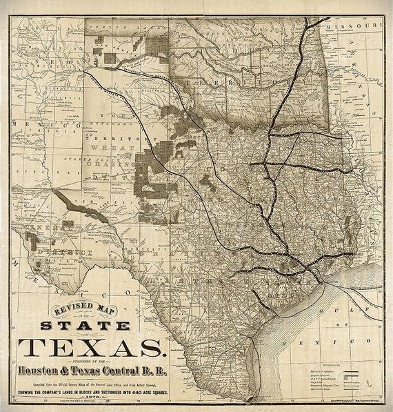 Old Map of Texas 1876 Vintage Historical Wall map Antique Restoration Hardware Style Map Texas state Map Texas Map Texas Wall Art Fine Gift