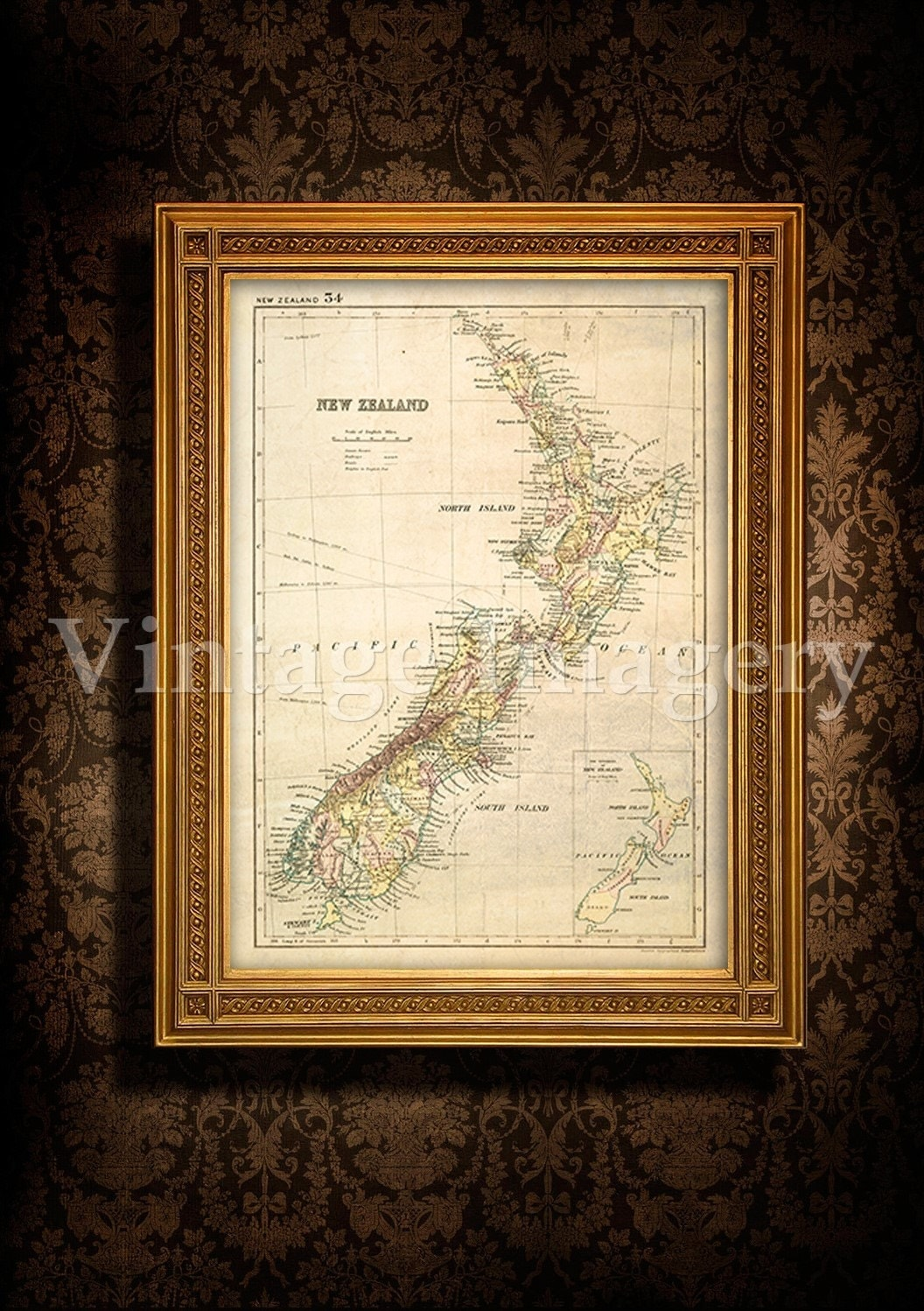 Antique New Zealand Map 1881 Old Map Of New Zealand Vintage New Zealand Wall Map Home Decor