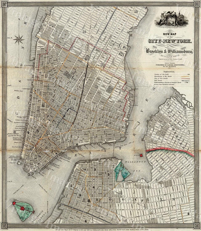 Old Map Of New York City Vintage Manhattan Map Brooklyn - New york map restoration hardware