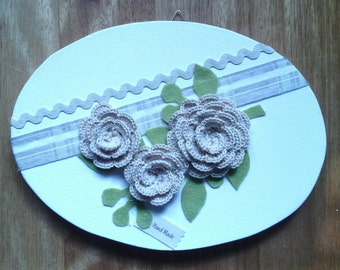 Out door oval wooden decorated with crochet roses