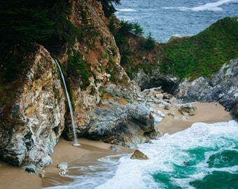 View of McWay Falls, at Julia Pfeiffer Burns State Park, Big Sur, California - Landscape Photography Fine Art Print or Wrapped Canvas