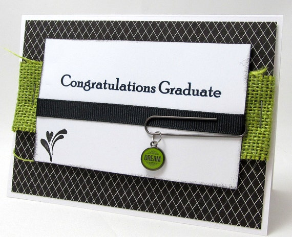 Congratulations Graduate - Dream - Graduation Card - Black and White - Green Accents - Burlap - Blank Card - Rustic and Modern Style