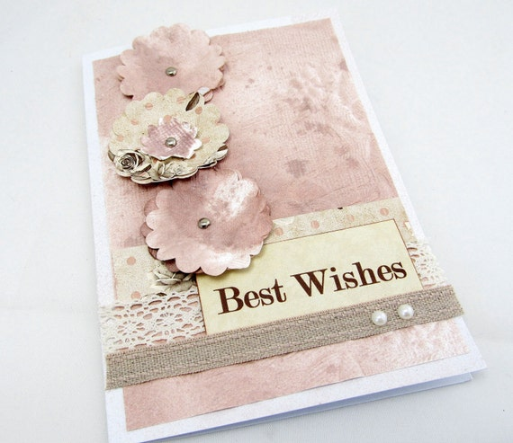 Dusty Rose Best Wishes Card - Wedding Card - Paper Flowers - Dusty Rose and Pale Yellow - Shabby Chic - Blank Card - Engagement