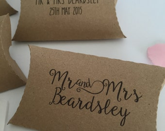 Wedding Favour Box Personalised Kraft Card Small Pillow Boxes (20)