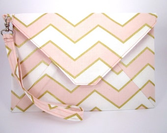 Cotton Envelope Clutch with Wrist Strap, Pink, White & Gold Chevrons with Pink Lining