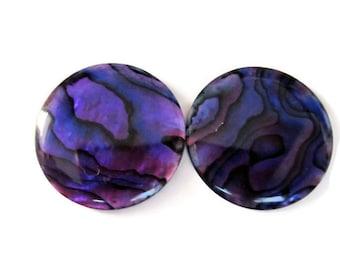Purple Paua Shell Round Cabochons - Pair 20mm