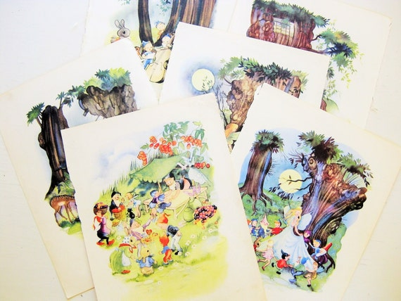 "Six ""Fairyland Secrets"" book illustrations / book plates. 10-1/4"" x 8"". Gnomes, elves, fairies. Nursery Art. Children's decor"