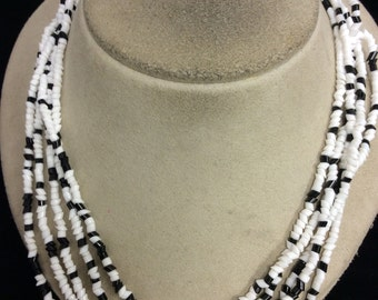 Vintage Multi Stranded Black & White Glass Beaded Necklace