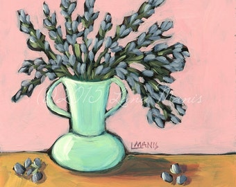 Lavender #11 - Fine Art PRINT - Bouquet in Mint Vase - cottage chic, whimsical, contemporary, acrylic painting, wall decor, nursery art