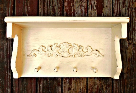 Decorative Wall Shelf With Hooks Mantle Rack : Wall shelf mantle coat rack wooden by