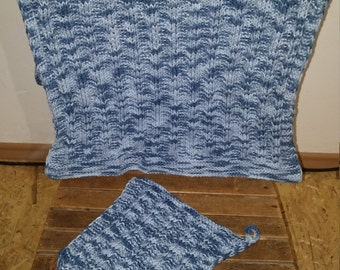 Knitted towel with lobules for bathroom or kitchen in shades of blue