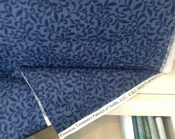 Americana from Timeless Treasures blue tone on tone floral print by the yard 100% cotton