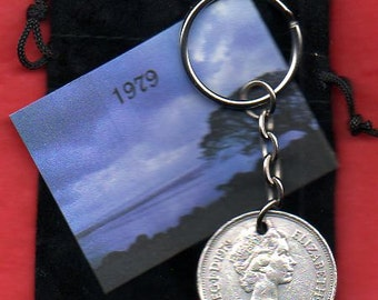 1979 British Old Large Ten Pence Coin Keyring Key Chain Fob Queen Elizabeth II