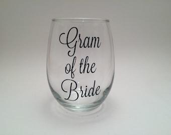 Grandma of the Bride Gift, Grandma Wedding Gift, Thank You Wedding Grandma Gift, Grandmother of the Bride Wine Glass, Gift for Grandma