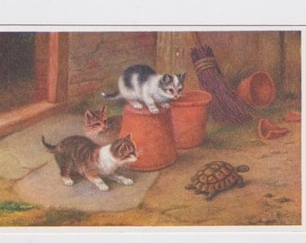 Vintage art illustration postcard card - little kittens / cats with pet tortoise, sweet, animals, child baby nursery, wall decor, picture