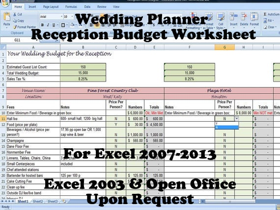Wedding Planner Reception Budget Worksheet Wedding Planning – Wedding Budget Worksheet Excel