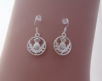 15mm Thistle - Flower of Scotland Silver-plated Earrings