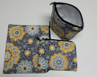 Reusable Sandwich Bag Set, Floral,Gold, Gray,White, Black, Gadget Bags,Cosmetic Bags,Gadget Bags,Nylon Lining,Snack Bags,Zipper Closure.