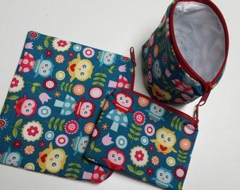Reusable Sandwich Bag Set,Owls Snack Bags,Treat Bags,Owls,Owl Lunch Baggies,Gadget Bags, Make-Up Bags,Nylon Lining, Washable,Zipper Closure.