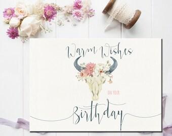 Friend Birthday card, Happy Birthday Card, Boho Card