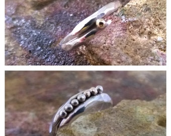 Organic Sterling Silver Algae Ring with Gold features