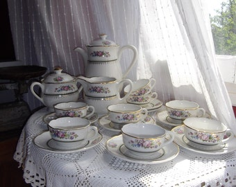 12 place French porcelain coffee service or tea set rose pattern Digoin Trianon