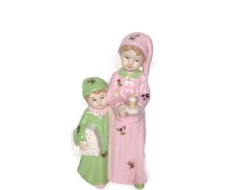 Vintage ceramic statuette sisterly love figurine bedtime nursery decor