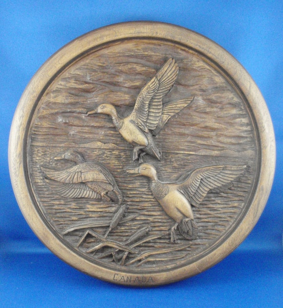 Hand finished relief carved wall art plaque of mallard ducks