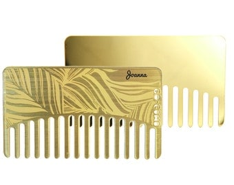 Personalized Brass Mirror Hair Comb - Wallet & Travel Size  - GoComb