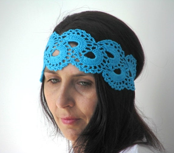 Crochet Hair Wrap : Blue Lace Headband, Crochet Hair Wrap, Boho Headband, Crochet Turban ...