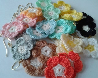 Gold Crochet Flower Dangle Earrings
