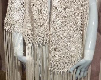 Ribbon Shawl 1940 Ivory Bridal Hippie Rayon Silk Crocheted Victorian