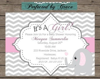 Printable DIY Grey Chevron and Pink Baby Girl Shower with Elephant
