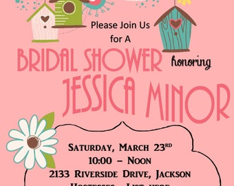 Printable DIY Bridal Shower with Pink / Coral Background and Birds and Birdhouses Customizable