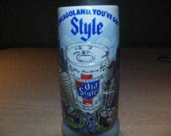 Old Style beer stein, Old Style beer mug, beer stein, beer mug, vintage barware, Chicago beer stein