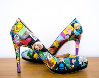 Black Canary Comic Book Heels. Custom Made to Order One of a Kind Shoes