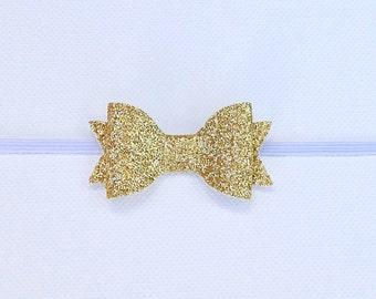 MINI Gold Glitter Bow Headband | Small Gold Bow | Gold Baby Headband | Gold Glitter Bow Headband | Newborn Baby Bow | Baby Girl Headband