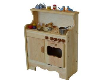 Play Kitchen-Natural Wooden Play Kitchen-Waldorf Toy Kitchen-Montessori stove-Wooden toys-Pretend Play-Child's play kitchen- Toy stove