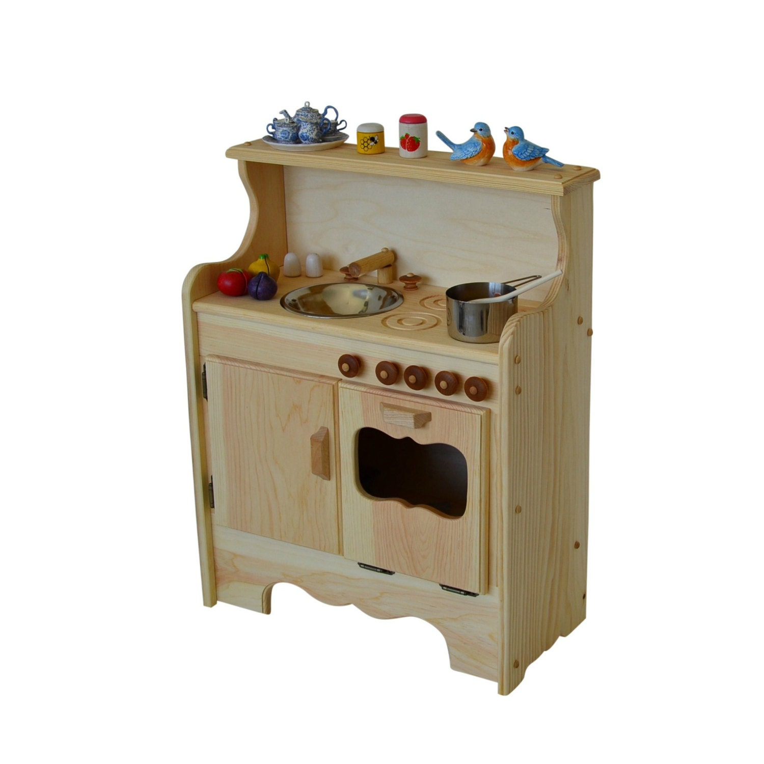 Play Kitchen Natural Wooden Play Kitchen Waldorf Toy