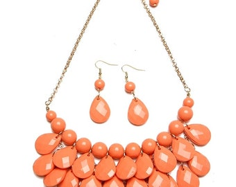 Coral Pearl/Faceted Teardrop Chain Necklace & Earring Set